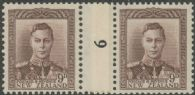 NZ Counter Coil Pair SG 685 1947 9d King George VI Join No. 6 (NCC/301)